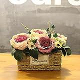 Xin Pang Simulierte künstliche Blume Rose Blumen Hochzeit Haus Dekoration handgefertigten Gras Blumenkorb Blumentopf, Po Blue Rose+Rose Kleine