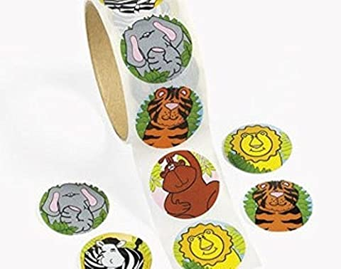Roll of 100 Zoo Animal Stickers for Kids Crafts |