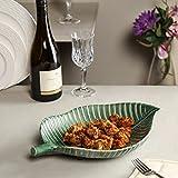 #7: Unravel India ceramic green leaf platter