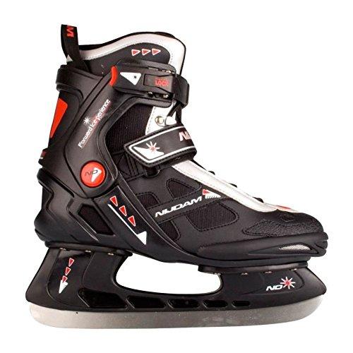 SCHREUDERS SPORT Nijdam Erwachsene Eishockeyschlittschuhe Icehockey Skate, Mehrfarbig (Schwarz/Silber/Rot), 46