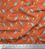 Soimoi Orange Samt Stoff Krokodil Gesicht & Fisch Ozean