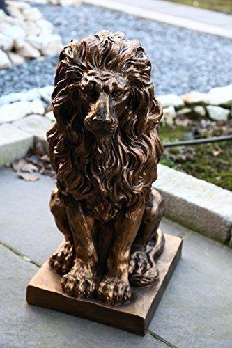 Deko Figur Statue Gartendeko Löwe Skulptur sitzend auf Podest 57 cm - Outdoor-löwen-statuen