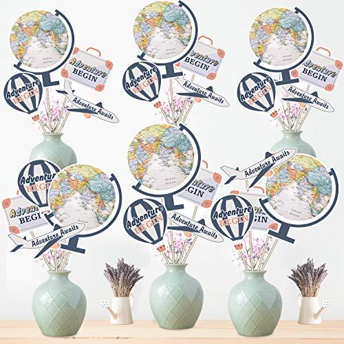 Blulu 24 Stücke Abenteuer Beginnen Party Lieferungen Reise Themen Party Kernstück Aufkleber TischTopper Weltkarte Foto Stand Requisiten (Reisen, Party Thema)