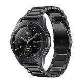 Fintie Armband kompatibel mit Samsung Galaxy Watch 42mm SM-R810/ Galaxy Watch Active/Gear Sport/Gear S2 Classic - Edelstahl Metall Uhrenarmband Ersatzband mit Doppelt Faltschließe, Schwarz