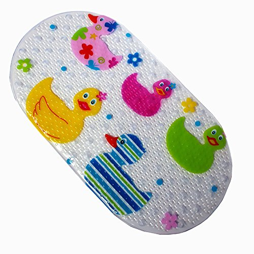 Rutschfeste Wanneneinlage Anti-Rutsch Badewannenmatten PVC Karikatur Entwurf Massage Dusche Badematte mit Saugnäpfen für Baby Kinder 38 x 71cm (Ducks)