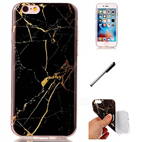 apple iPhone 6 plus Marmor Hülle. DECHYI Black Gold Marmor Serie Flexible TPU Kratzfest , Anti-Kollisions-Silikon Handy Hülle shell Case Cover.