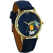 JewelryWe Relojes de Mujer Con Dibujos Piña y Unicornio Reloj Analogico Correa de Cuero Azul,
