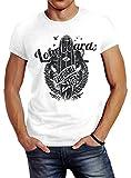 Neverless Herren T-Shirt California Longboards Surfing Surfboard Slim Fit Weiß L