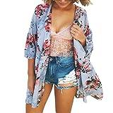 Malloom Femme en mousseline de soie à fleurs châle cardigan kimono Top Cover Up Chemise de plage (XL, Bleu)...