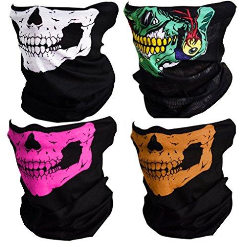 Meta-U 2/Pack Skull Print Multifunktions mit Kopfbedeckungen Face Tube Masken mit tragen Anleitung Gr. Einheitsgröße, 1 white& 1 green &1 orange & 1 pink (Kopf Angeln Und Hals Rohr)