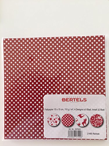 Bertels 32x Faltpapier Scandinavian X-Mas Origami-Papier Faltblätter Origami Falten