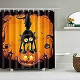 Cuigu Cortina de Ducha de Halloween para decoración de baño, Gato Negro Diseño de Calabaza-Cortina de Ducha-Imagen de Cuarto de baño Conjunto de Tejido Impermeable