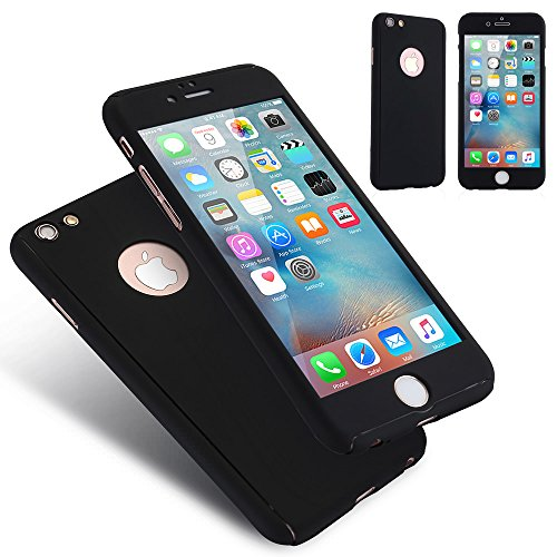 For iPhone 6 6S Case(4.7 inch),L-FADNUT 3in1 Hybird 360 Full Body Protective Hard Thin Bumper Tempered Glass Screen Protector [Front and Back] Case Shockproof Cover For iPhone 6/6S - Matte Black
