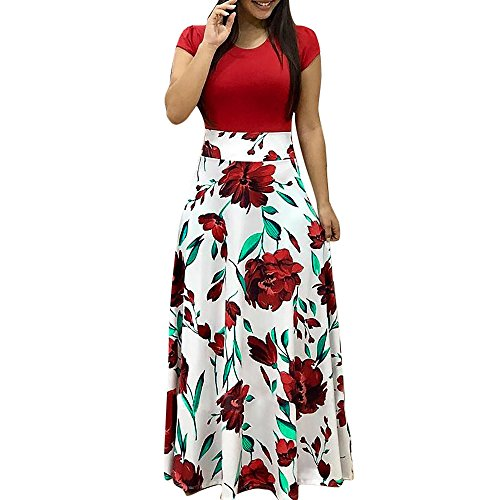 Yuwegr Mode Damen Kleider Langarm Floral Boho Print Lang Maxi Frauen Kleid Punkt Casual Dress 3 Farbe S-XL (L, Rot-B) Floral Print Maxi-kleid