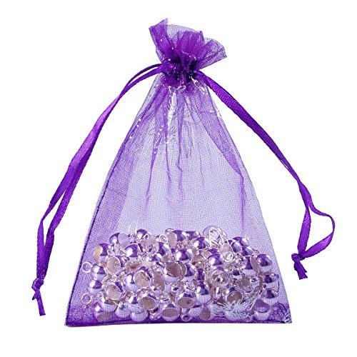 HooAMI 25 pcs Sachets Pochettes Papillon En Organza Organisateur de Cadeau Bonbons Bijoux Pour Mariage Anniversaire Soirée Fête Violet 9x12cm