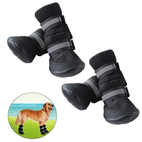 UEETEK Botas impermeables para perros Paw Protectors Antideslizante para perros Zapatos Black Size XL Set de 4