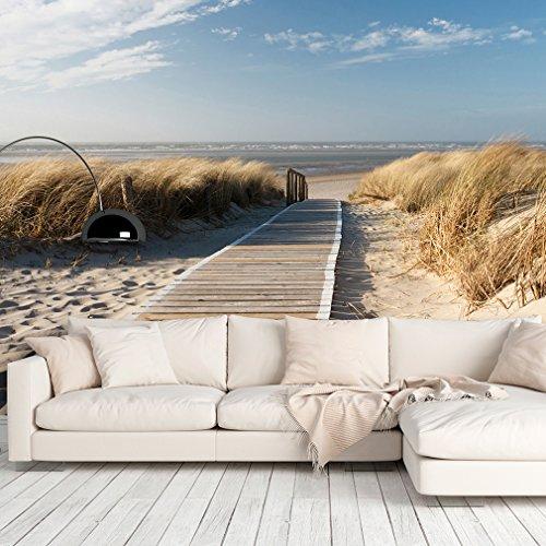 decomonkey | Fototapete Strand Meer blau 350x256 cm | VLIES TAPETE | moderne Wanddeko | Riesen Wandbild | Design | Fototapeten | Wandtapete | Landschaft Wasser Natur beige Sand | FOB0234a73XL