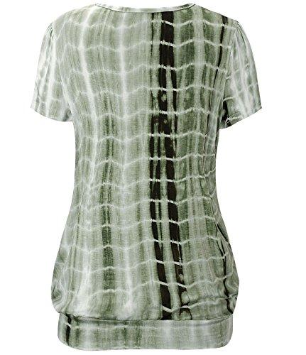 KorMei Damen Tops Casual Kurzarm Falten Tunika T-Shirt mit Stretch Rundkragen Tie Dye Grün#4