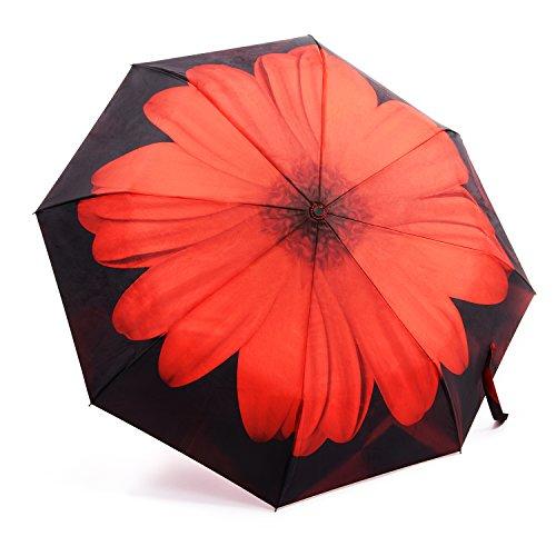 OakLeaf Ombrello Pieghevoli, Compatto Antivento Pioggia Ombrello per esterno da viaggio , Automatico Apri e Chiudi | Sturdy 210T Fabric- Margherita rosso