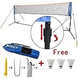 Federballnetz, Badmintonnetz, Minibadmintonnetz,Tennisnetz mit Gestell/ Gestänge SFN01, mit 3 Federball als Gratis (3 Meter)