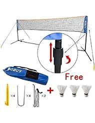 SoBuy SFN03 L5m Filet de Badminton Réglable en Hauteur, Filet de Volley-ball, Tennis, avec pied, bras, sac de transport, et 3 volants gratuits