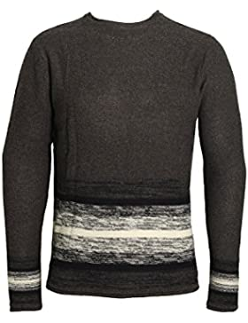 BELLFIELD Stripe Sausage Neck Jumper | Charcoal