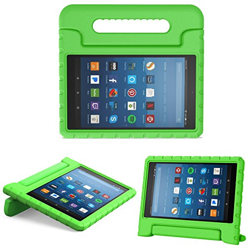 MoKo Hülle für All-New Amazon Fire HD 8 Tablet (7th & 8th Generation - 2017 & 2018 Modell) - Superleicht Eva Kids Shock Proof Cover Stoßfest Kindgerechte Schutzhülle, Grün - Hd Den Kindle Fire Cover Für