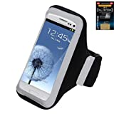 Premium Sport-Armband Tasche für Apple iPhone 6 (4,7 Zoll), Samsung Galaxy S6 Edge/S6/S5/S5 Active/S4 Active/S4/S3/E5/A5/Alpha, LG G3/G2, HTC Droid DNA 6435/Desire 510/M8/M9/One E8 – Schwarz + Cell Phone Antenna Booster