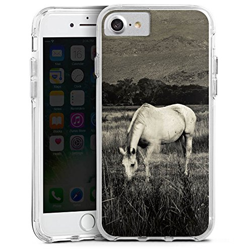 Apple iPhone X Bumper Hülle Bumper Case Glitzer Hülle Pferd Horse Stute Bumper Case transparent