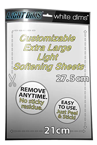 LightDims White Dims Light Dimming / Softening Sheet for Harsh LED Lights, Electronics and Appliances and more. Dims 15-30% of Light, 20cm x 27.5cm Extra Large Size.