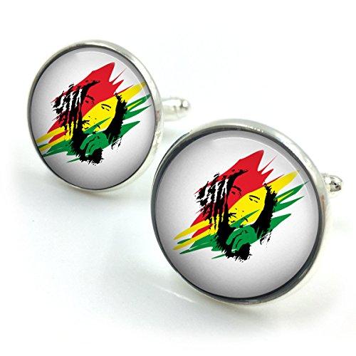Versilbert Bob Marley Manschettenknöpfe| Reggae| Jamaika| Marley| Musik| Rasta Geschenk für ihn| Geschenk für Männer| Geschenk für Freund (Bob Marley Rasta Tragen)