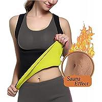 Adelgazamiento Body Shaper para las mujeres, entrenador de cintura Tummy Control sudor camiseta de tirantes para mujer–no cremallera negro sauna trajes