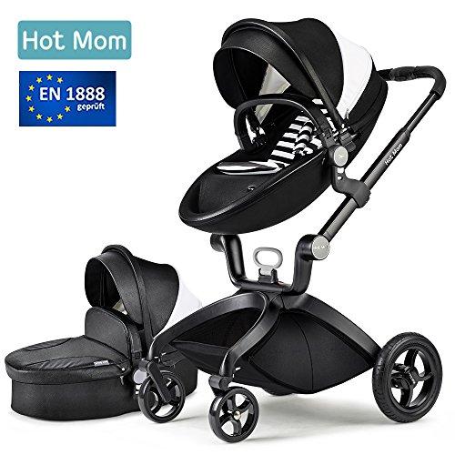 Hot Mom Limited Edition Kombikinderwagen mit Buggyaufsatz und Babywanne 3-in-1 Travelsystem Funktion 2017,Schwarz