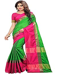 Latest Poly Cotton Party Wear Collection Of Sari In Low Price With Blouse