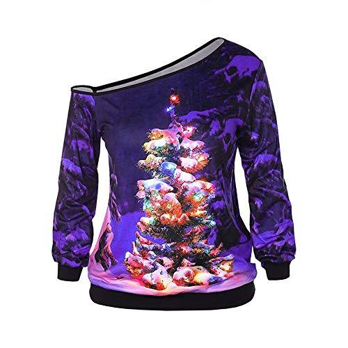 Vectry Weihnachtsbluse Christmas Jumper Weihnachts Pullover Ugly Sweater Lustige Sweatshirts Hässliche Pullover, Damen Weihnachtsbaum Schulterfrei Tops Langarmshirts Mädchen Casual Lose Blusen Shirt