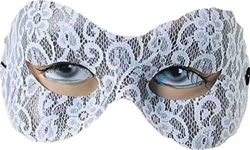 Damen Kostüm Zubehör Halbschuhe Party Maskenball Spitze Domino Augen Maske - Weiß, Einheitsgröße, One size