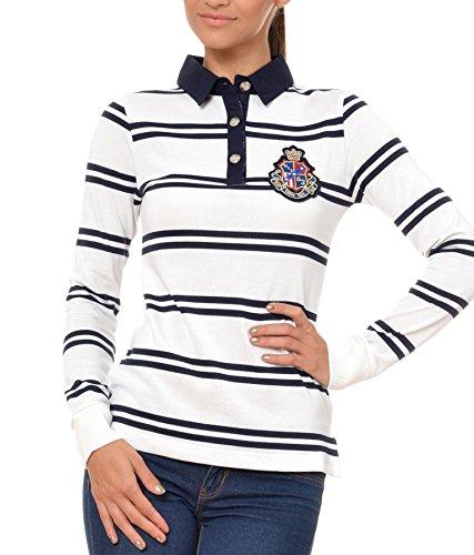 Polo Sweat Maglietta T-Shirt Felpa manica lunga per donna di M.Conte Kaylie bianco S