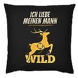 Tini - Shirts Jäger/Jägerinnen Deko-Kissen - Sprüche Geschenk-Kissen Jagdsport : Ich Liebe Meinen Mann … zum Jagen Gehen lässt - Deko Jagen - Kissen mit Füllung - Farbe: schwarz