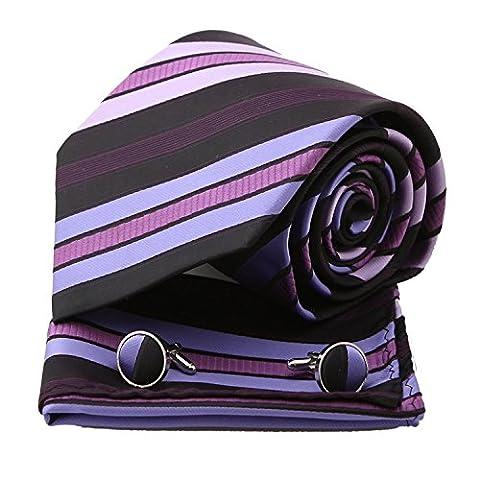 PH1070 Violet Stripes en soie cravate Mouchoirs Boutons de manchette Set par Epoint