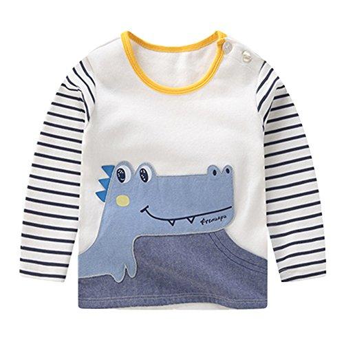 Jungen Langarm Shirt Kleider Kinder Herbst Winter Kleidung Runder Kragen Top Krokodil/100 (Vorderseite Auf Kragen Der Tasche)