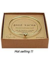 Bracelet jonc Good Karma en laiton doré