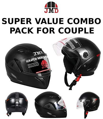 JMD SUPER VALUE COUPLE COMBO FULL & OPEN FACE HELMET (Trusty & Grand PACK-02) BLACK_M