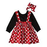 Lazzboy Kleinkind Baby Kinder Mädchen Solide Tops Dot Geraffte Rock Dress Set Festlich Fasching Kostüme Prinzessin Tutu Kleid Ohren Stirnband Neugeborenen Für Karneval(Rot,Höhe:80)