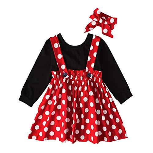 Lazzboy Kleinkind Baby Kinder Mädchen Solide Tops Dot Geraffte Rock Dress Set Festlich Fasching Kostüme Prinzessin Tutu Kleid Ohren Stirnband Neugeborenen Für - Karneval Kostüm Selbstgemacht