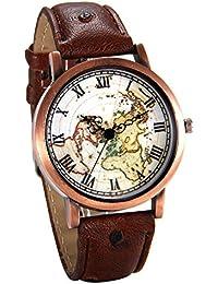 JewelryWe Reloj de Pulsera Retro Vintage Dial Mapamundi, Correa de Cuero Cuarzo Analógico Para Mujer Hombre, Bronce Reloj Original Para Navidad/ San Valentin, Marrón