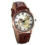 JewelryWe Herren Damen Armbanduhr, Retro Analog Quarz Weltkarte Globus Karte Uhr mit Römischen Ziffern Zifferblatt und Leder Armband, Farbe: Braun