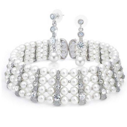 Bling Jewelry Cristallo nuziale bianco perla di Faux Girocollo e orecchini di goccia Set