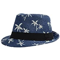 Leisial Coco Panama Jazz Unisex Hat Fedora Summer Beach Hats for Women Men Trilby Hat Gangster Style Sun Hat Solid Color Straw Jazz Cap Curling Basin Cap