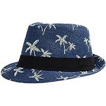 Leisial Sombrero Playa Paja de Viajes Vacaciones Verano Gorro Estilo  Británico para Hombre c4c1abb4ddb8