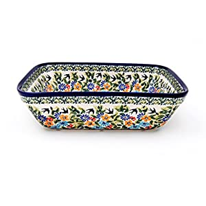 Hand-Decorated Polish Pottery Casserole Dish for 3 People with High Edge 1.5 Litres in Premium DU182